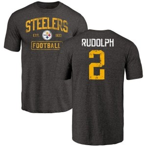 Mason Rudolph Pittsburgh Steelers Men's Black Distressed Name & Number Tri-Blend T-Shirt