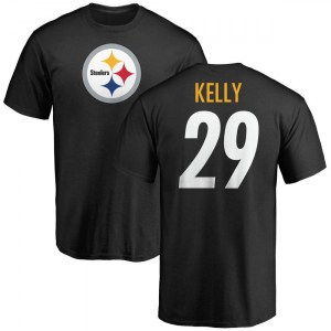 Kam Kelly Pittsburgh Steelers Men's Black Any Name & Number Logo T-Shirt -