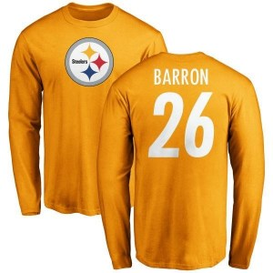 Mark Barron Pittsburgh Steelers Youth Gold Name & Number Logo Long Sleeve T-Shirt -