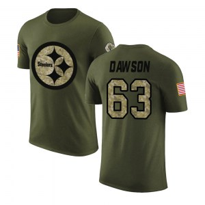 Dermontti Dawson Pittsburgh Steelers Men's Legend Olive Salute to Service T-Shirt