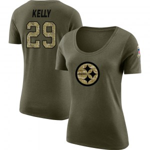 Kam Kelly Pittsburgh Steelers Women's Legend Olive Salute to Service Scoop Neck T-Shirt
