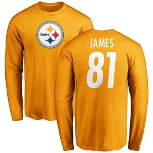 Jesse James Pittsburgh Steelers Men's Gold Pro Line Name & Number Logo Long Sleeve T-Shirt -