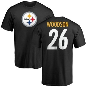 Rod Woodson Pittsburgh Steelers Men's Black Pro Line Any Name & Number Logo T-Shirt -