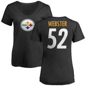 Mike Webster Pittsburgh Steelers Women's Black Pro Line Any Name & Number Logo Slim Fit T-Shirt -