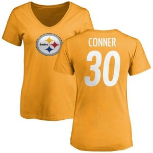 James Conner Pittsburgh Steelers Women's Gold Pro Line Name & Number Logo Slim Fit T-Shirt -