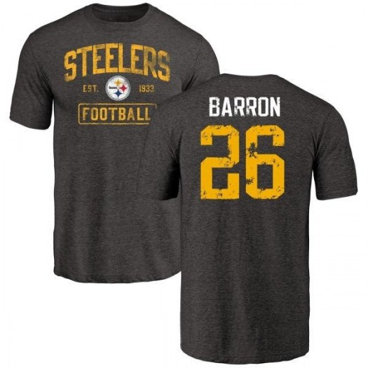 Mark Barron Pittsburgh Steelers Youth Black Distressed Name & Number Tri-Blend T-Shirt