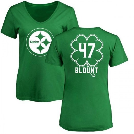 Mel Blount Pittsburgh Steelers Women's Green St. Patrick's Day Name & Number V-Neck T-Shirt