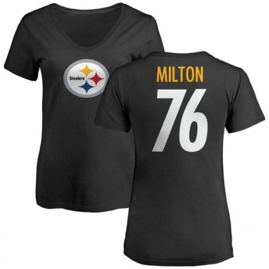 Keavon Milton Pittsburgh Steelers Women's Black Pro Line Any Name & Number Logo Slim Fit T-Shirt -