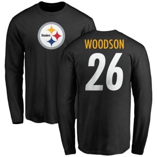 Rod Woodson Pittsburgh Steelers Men's Black Pro Line Any Name & Number Logo Long Sleeve T-Shirt -