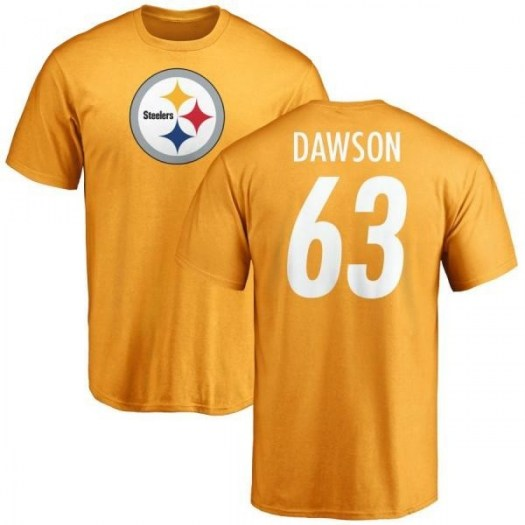 Dermontti Dawson Pittsburgh Steelers Men's Gold Pro Line Name & Number Logo T-Shirt -